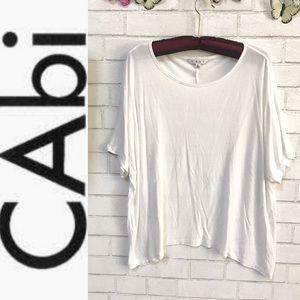 CAbi Oversized Rayon Top Edge Slouchy White Tee